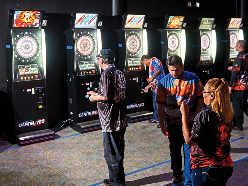 row of electronic dartboards