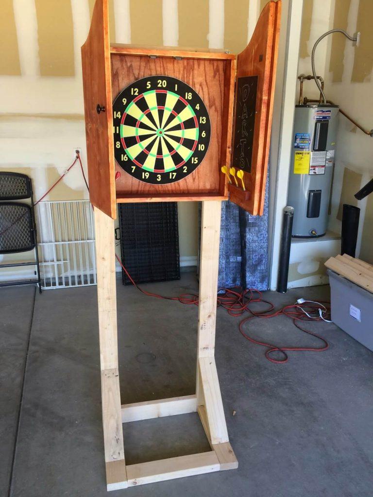 wooden dartboard stand