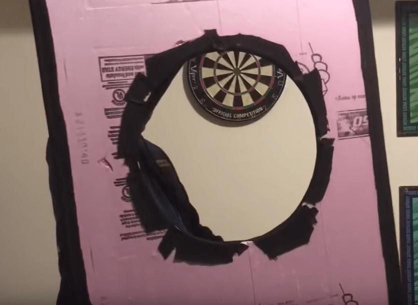 custom dartboard backboard - back view
