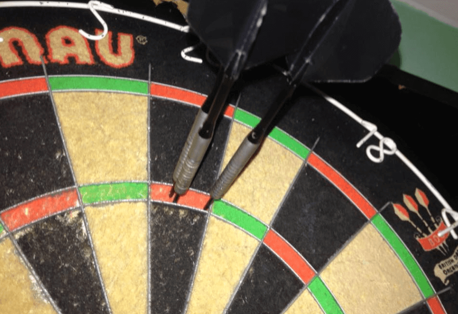 damaged dartboard